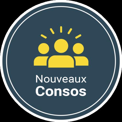 Logo de la start-up Nouveaux-Consos avec des personnages jaunes qui représentent des consommateurs