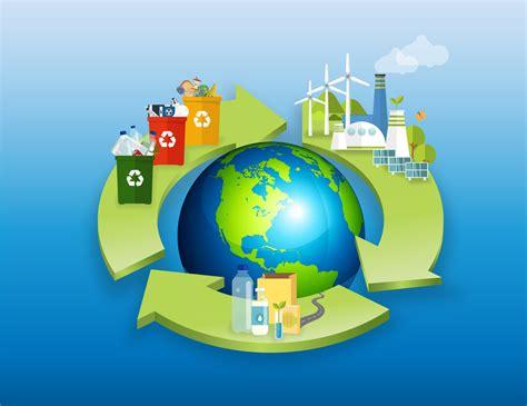 Image avec une terre. Des flèches représentant l'économie circulaire sont autour. Il y a des déchets représentés sur les flèches, mais aussi des poubelles de tris et des éoliennes.