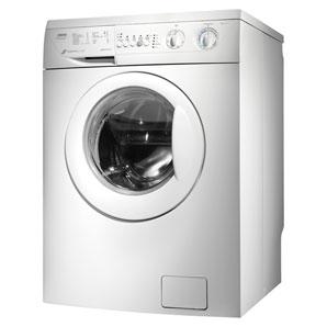 Un modèle low-tech d'un lave-linge à hublot blanc sans écran LED.