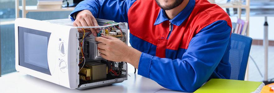 Il s'agit d'une image montrant un réparateur professionnel de micro-onde.