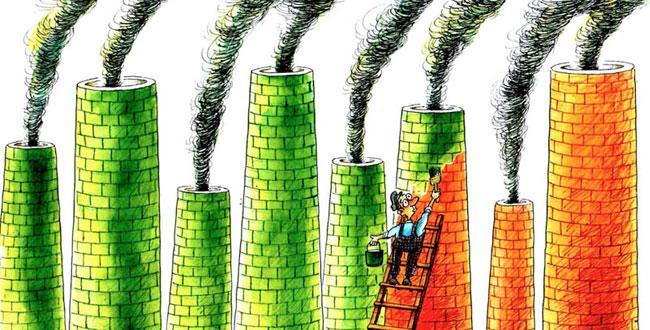 Illustration du Greenwashing avec un bonhomme en train de repeindre des usines, émettrices de GES, en vert.